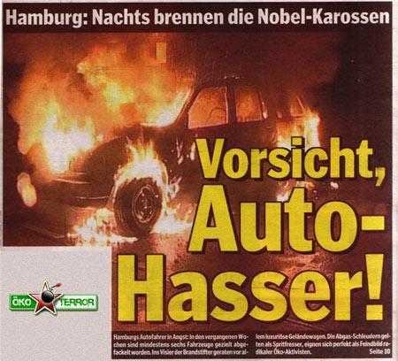 Nobelkarossen in HH brennen…