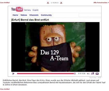 Bernd das Brot entführt!!!