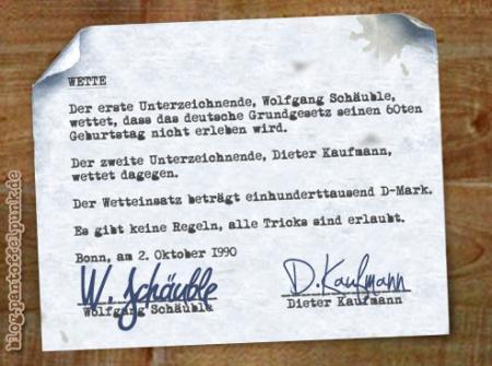 Schäubles Wette