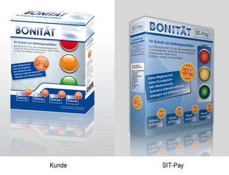 Lustige und ganz zufällige Gemeinsamkeiten zwischen SIT-Pay Bonität-Karton und dem Entwurf unseres Werbers.